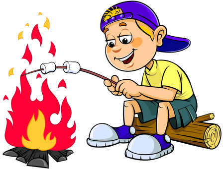 Cartoon boy with marshmallow. Vector illustration of a cartoon boy cooking a marshmallow isolated of white background