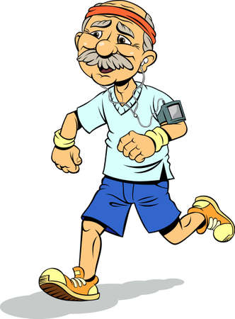 Color vector illustration of running old man. An old smiling man with white hair on the sides of his balding head, white mustache, wears an blue t-shirt, yellow and orange sneakers, runs in motion