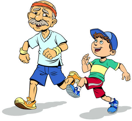 Happy elderly man with cute child running. Color vector illustration of Cheerful grandfather and cute grandson running in sportswear.