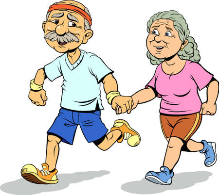 Mature couple jogging and running outdoors. Color vector illustration of Senior couple jogging and running. Ilustração