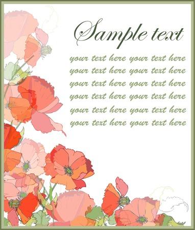 Retro floral background. Poppy. Illustration