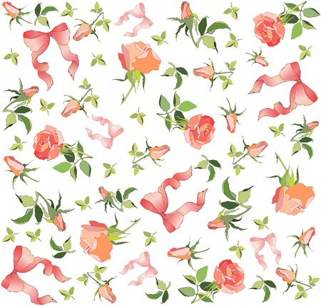 Retro floral background. Rose, bow. Vector