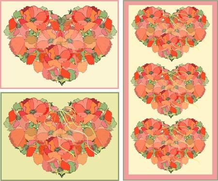 Decorative heart. Poppy. Vector