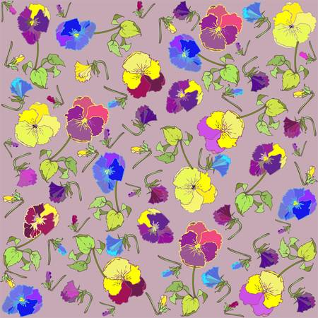 Retro floral background. Pansies. Vector