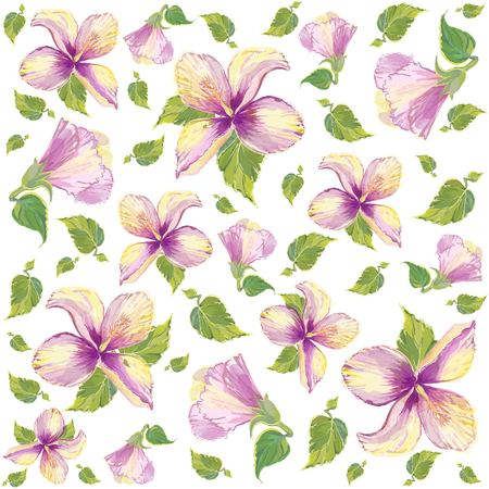 Retro floral background. Hibiscus. Illustration