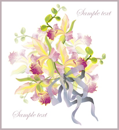 Greeting card with a bouquet of orchids. Beautiful bouquet of garden orchids.