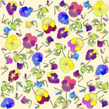 pansies: Retro floral background. Pansies.