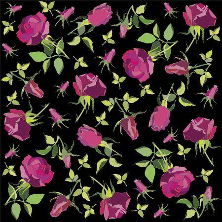 Retro floral background. Rose. Vector