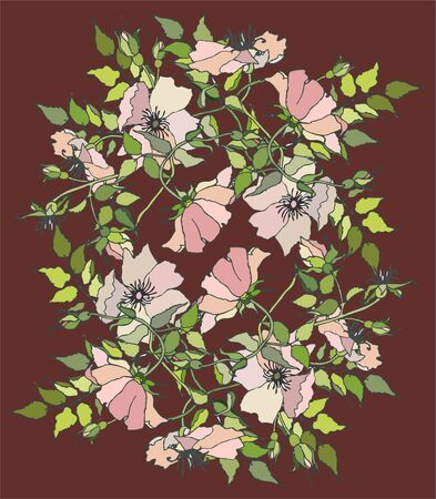 Background. Wild  rose. Vector