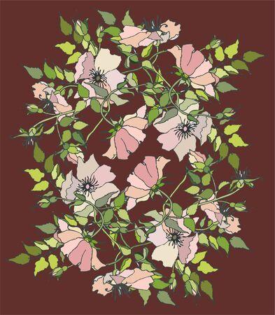 Background. Wild  rose. Vector