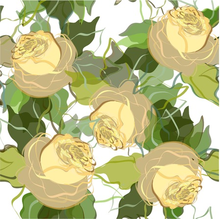 Beautiful composition with the image of yellow roses. Illustration