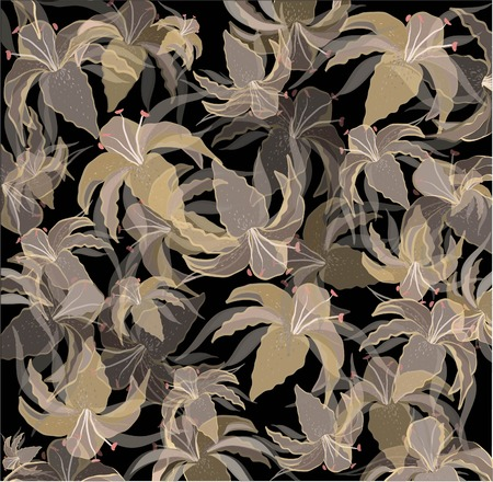 textile image: Background. Background with the image of garden lilies. Illustration