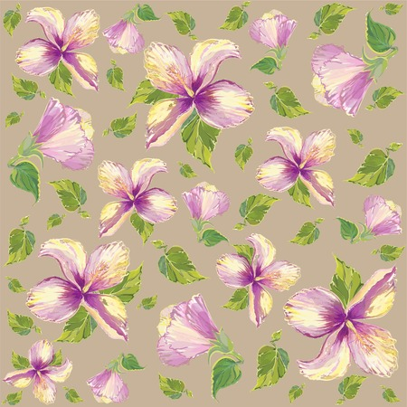Seamless background with the hibiscus image. Vector