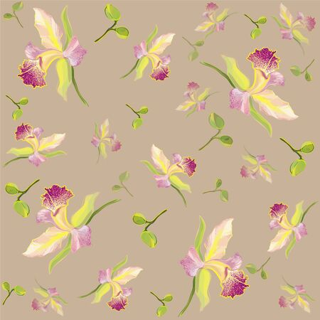 Seamless background from a flowers ornament, fashionable modern wallpaper or textile.Orchids  Vector