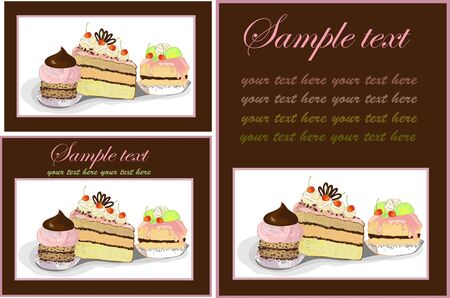 Illustrations of the cake. Menu. Stock Vector - 8558225