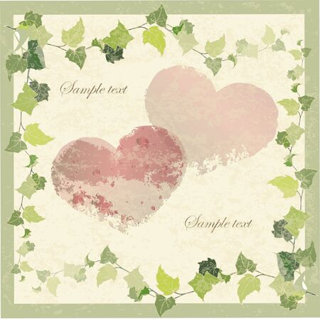 Vintage greeting card with the image of a wild ivy and hearts. Stock Vector - 8569349