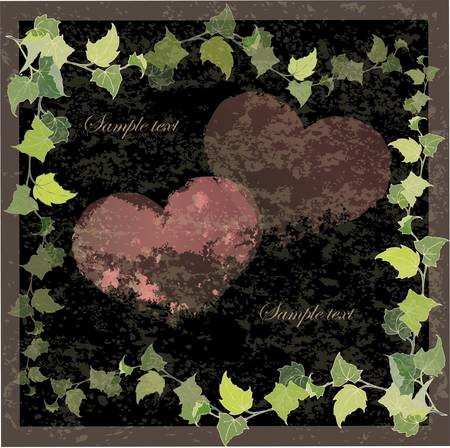 Vintage greeting card with the image of a wild ivy and hearts.Hand drawn valentines day greeting card. Vector