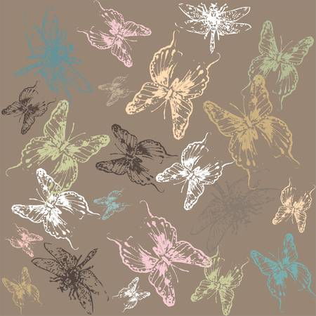 Seamless background with the image of a dragonflies and butterflies. Vector