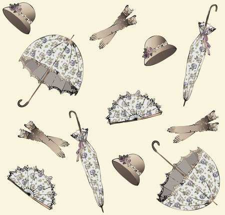 Illustration of vintage umbrella, hat, fan, glove. Seamless background fashionable modern wallpaper or textile.