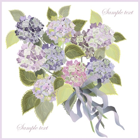 Greeting card with a bouquet of hydrangea. Illustration