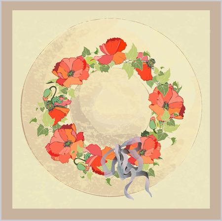 Vintage hat with poppies. Vector