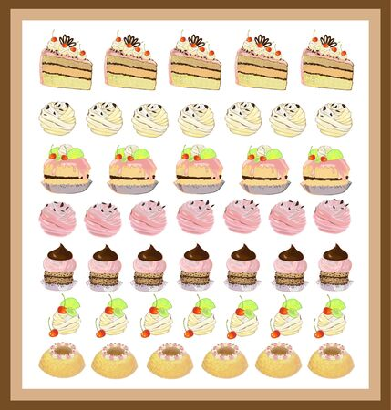 Illustrations of the cake. Menu. Stock Vector - 8776370