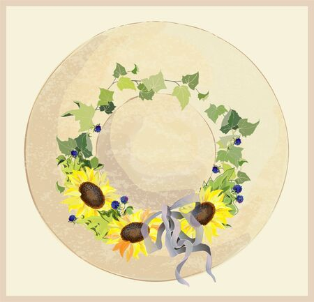 Vintage hat with sunflower end blackberry. Vector