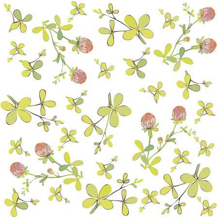 trefoil: Four leaf clover seamless background. Illustration