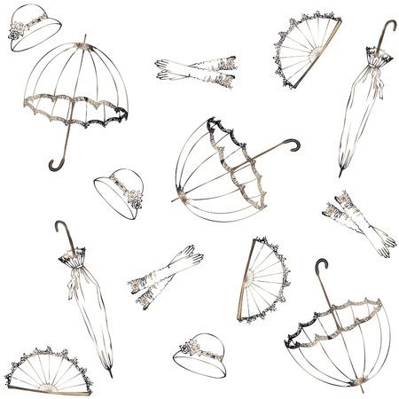 Illustration of vintage umbrella, hat, fan, glove. Seamless background fashionable modern wallpaper or textile.