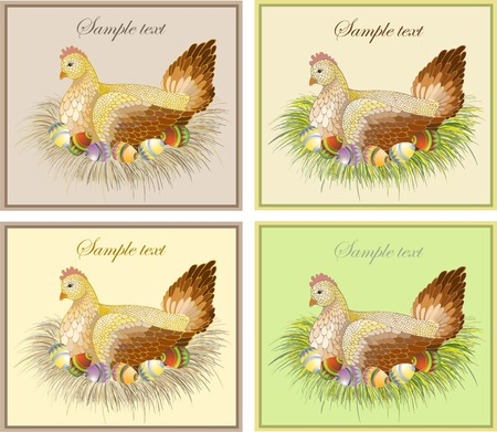 Easter card with hen and rooster Vector