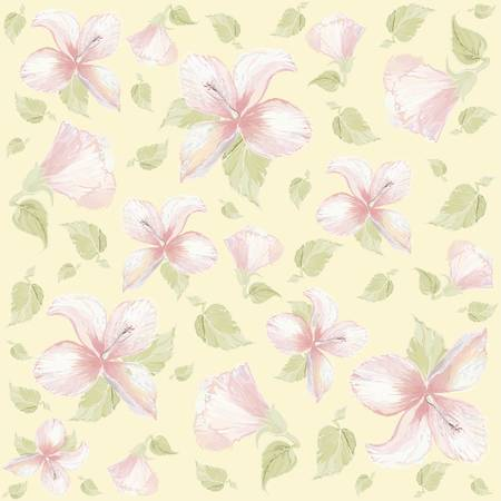 Seamless background with the hibiscus image. Stock Vector - 8790432