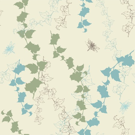 Seamless background with ivy and dragonflies.