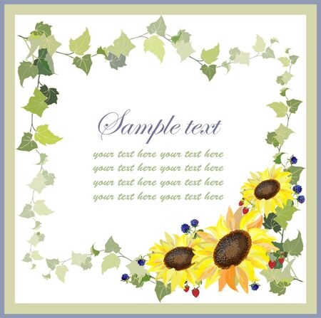 Beautiful decorative framework with a sunflower and blackberry,wild strawberry,ivy. Vector