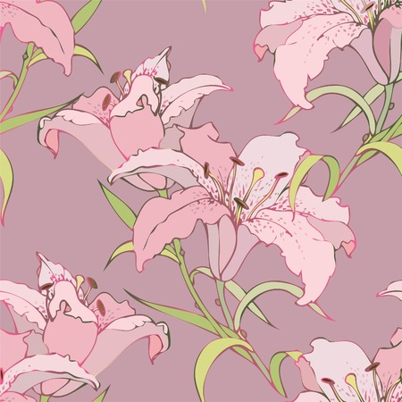 Seamless background from a flowers ornament, fashionable modern wallpaper or textile. Lilies. Stock Vector - 8889100