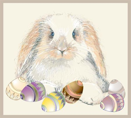 Illustration of a rabbit and Easter eggs. Vector