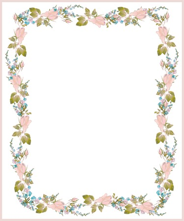 Beautiful decorative framework with flowers. Greeting card with forgetmenot end rose. Stock Vector - 8985518