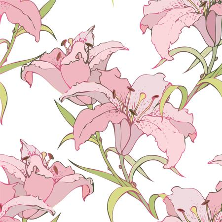 Seamless background from a flowers ornament, fashionable modern wallpaper or textile. Lilies. Ilustracja