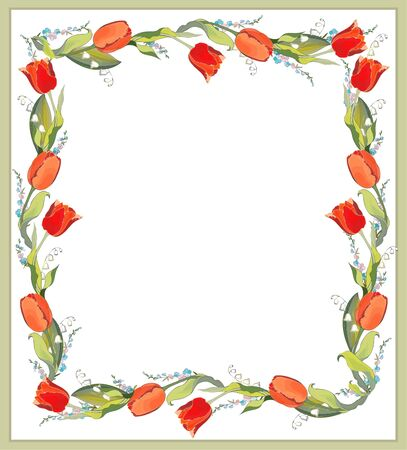 Beautiful decorative framework with tulips, lily of the valley and forget-me-not. Vector