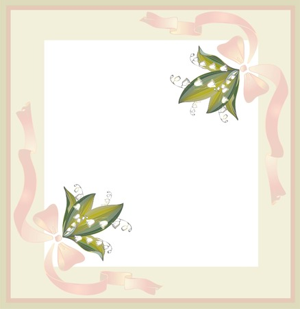 Beautiful decorative framework with flowers. Greeting card with a bouquet  lily of the valley Vector