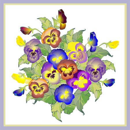 pansies: Greeting card with a bouquet  pansies. Illustration