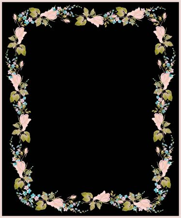 Beautiful decorative framework with flowers Vector