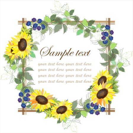 Beautiful decorative framework with a sunflower and blackberry berries Vector