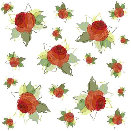 art painting: Seamless background with of a roses.