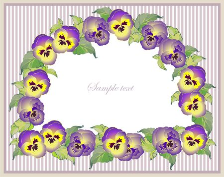 Beautiful decorative framework with flowers. Greeting card with pansies. Vector