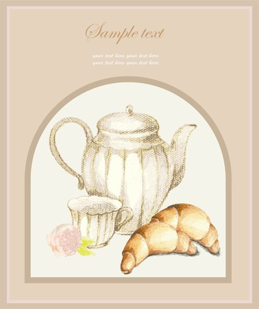 kaffeekanne: Illustrations of the coffee pot and croissant and cup. Menu.