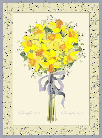 Greeting card with a bouquet daffodil. Vector