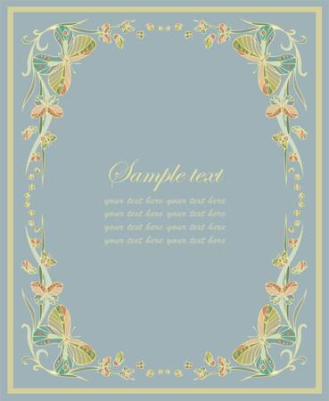 Beautiful decorative framework with butterflies. Greeting card with butterflies. Vector