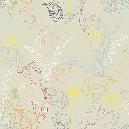 Seamless background.Illustration rose,tulip,lily of the valley, daffodil, pansies. Vector