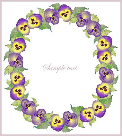 pansies: Beautiful decorative framework with flowers. Greeting card with pansies.