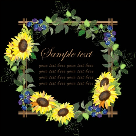 Beautiful decorative framework with a sunflower and blackberry berries Illustration